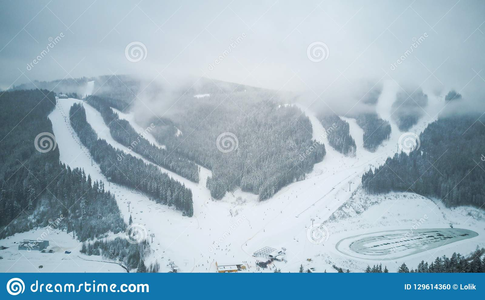 Aerial view of a ski resort in the Carpathians, Bukovel