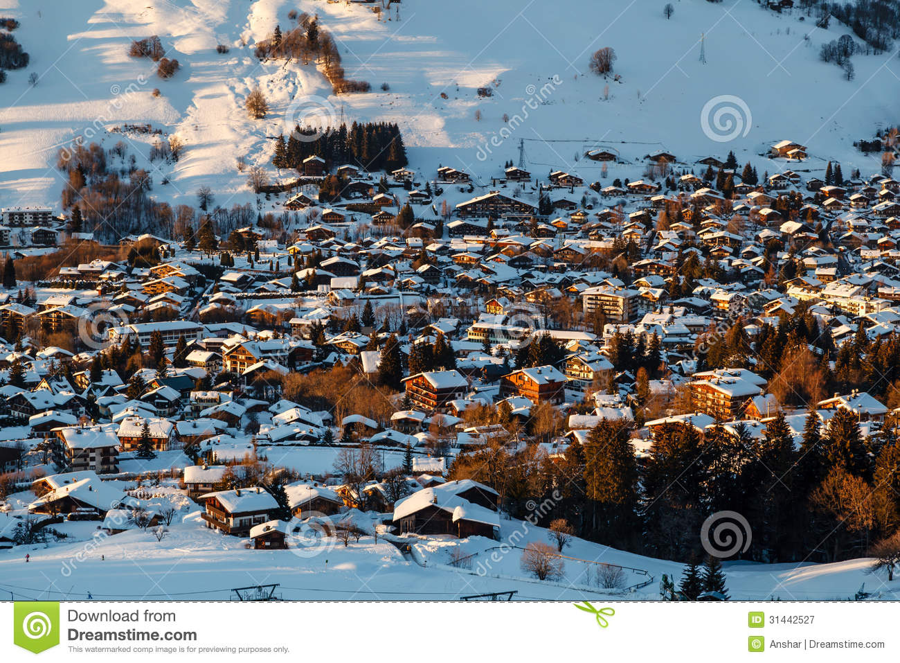 Aerial View On Ski Resort Megeve In French Alps Royalty