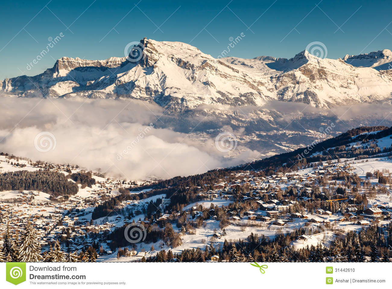 Aerial View On Ski Resort Megeve In French Alps Stock
