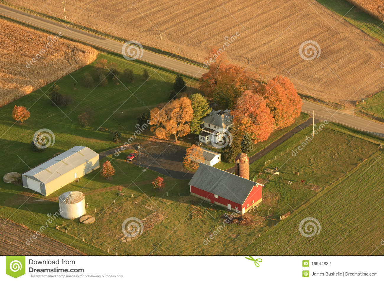 Stock Photography Aerial View Small Farm Image16944832 on modern barns