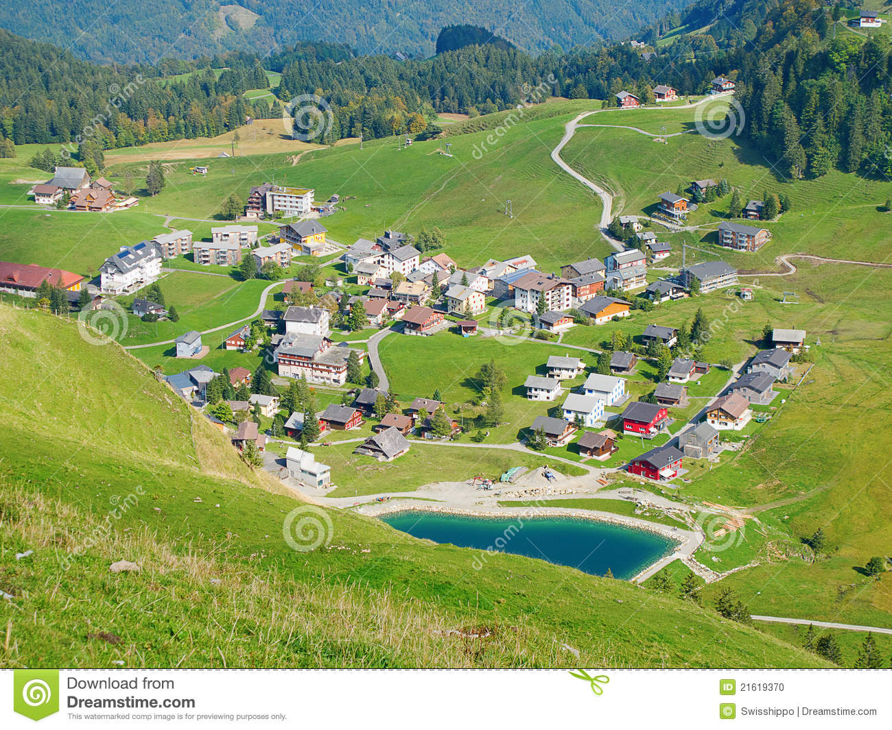 aerial view of small swiss village stock photo   image 21619370