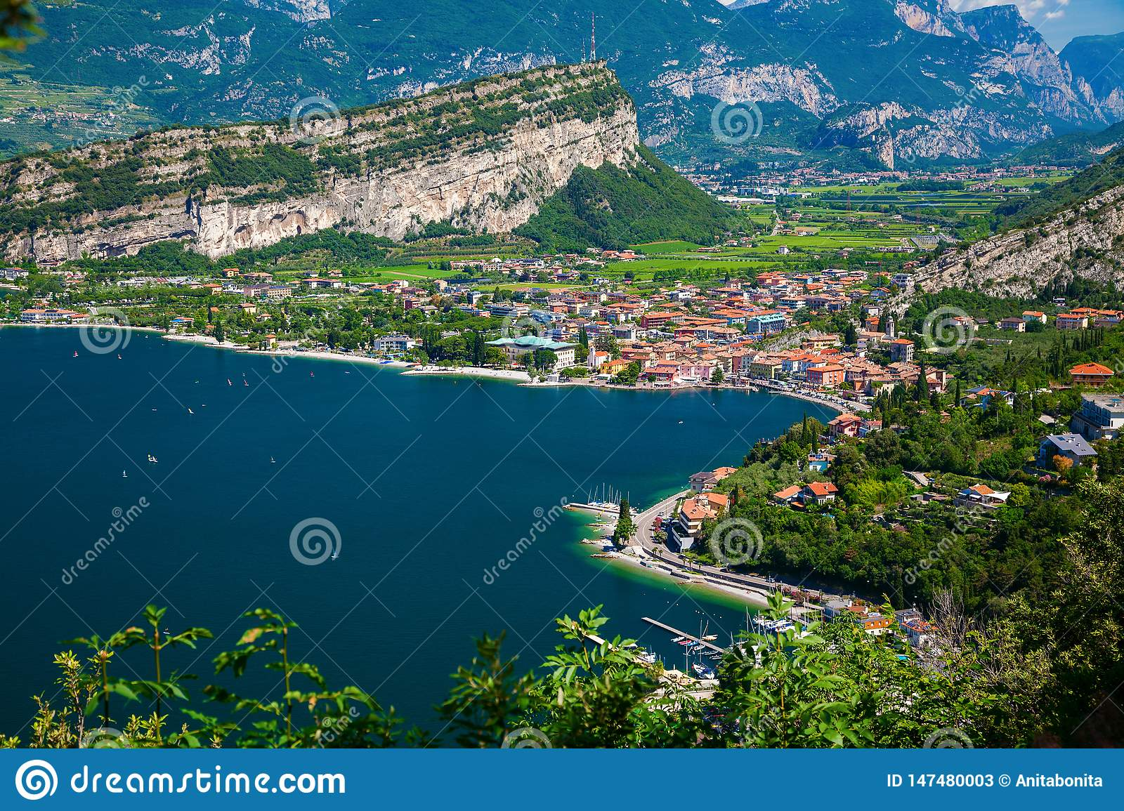Aerial view on the small village Nago-Torbole