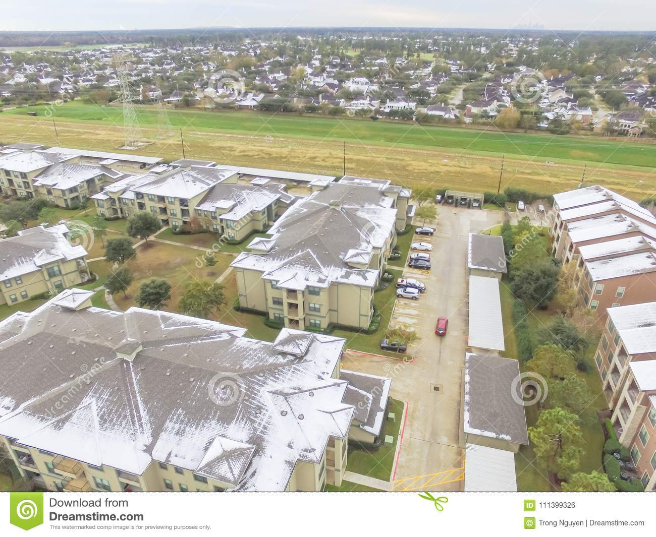Aerial View Snow Covered Apartment Complex Building In ...