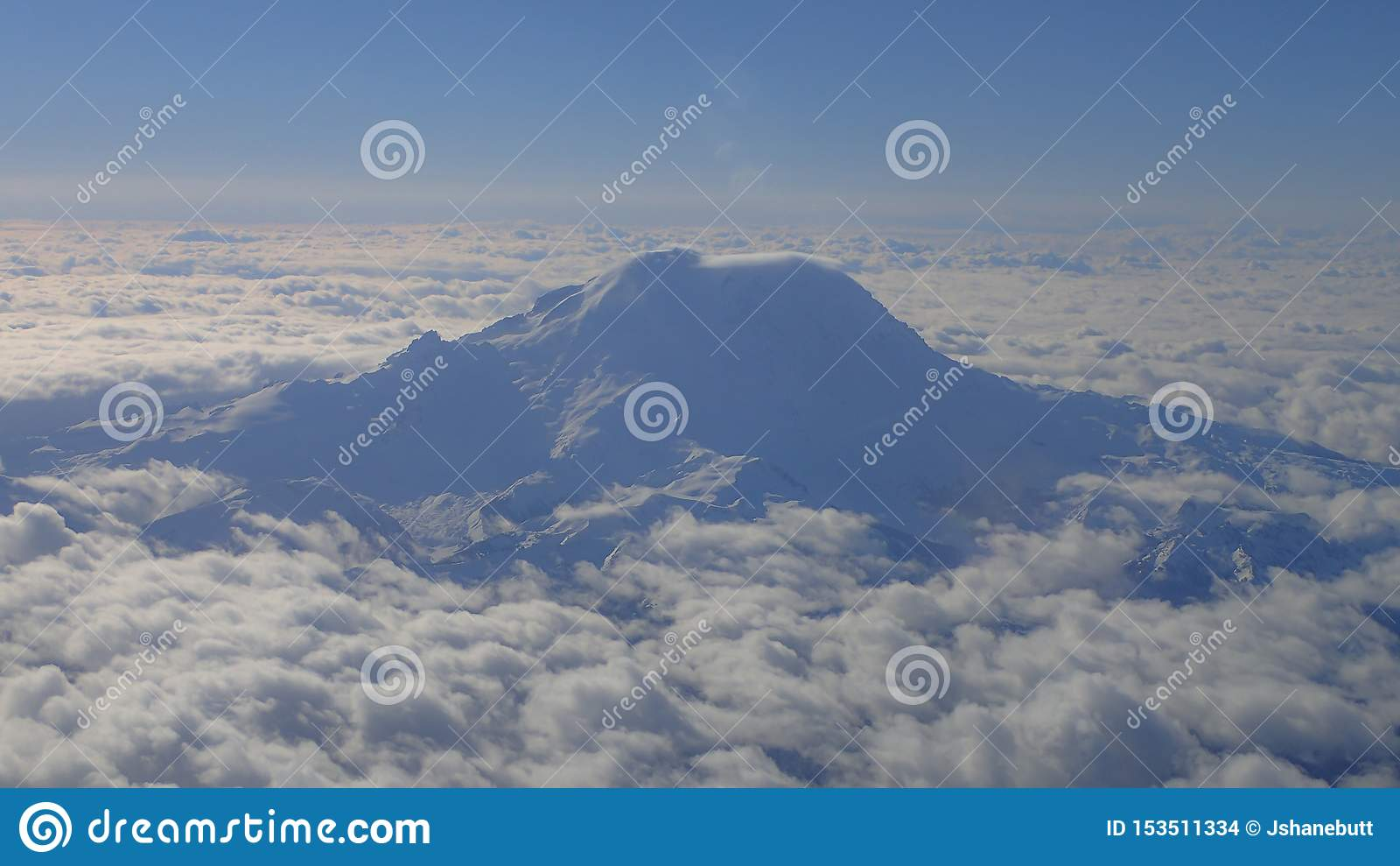 Aerial view of snow covered Mt. Rainier