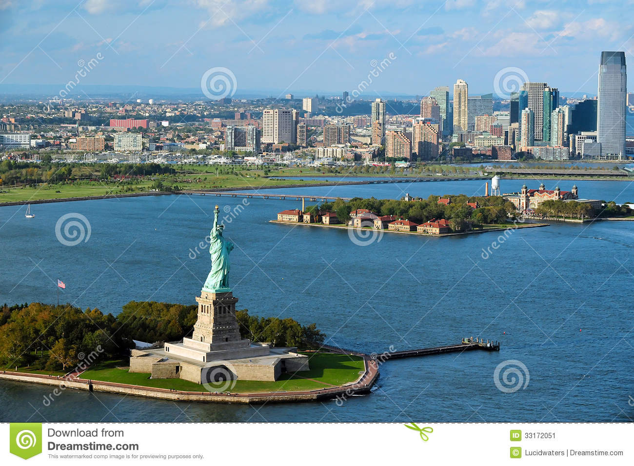 Aerial View Of The Statue Of Liberty And Ellis Island Editorial ...
