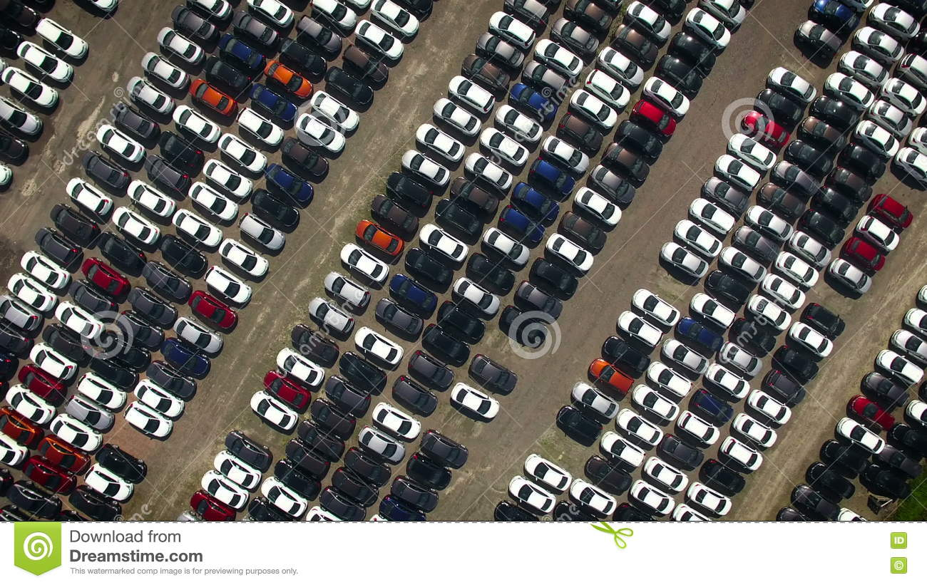 Aerial View Of Storage Parking With New Unsold Cars Stock Video ...