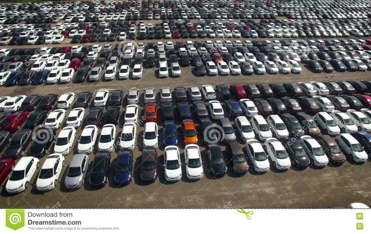 Aerial View Of Storage Parking With New Unsold Cars Stock Footage ...