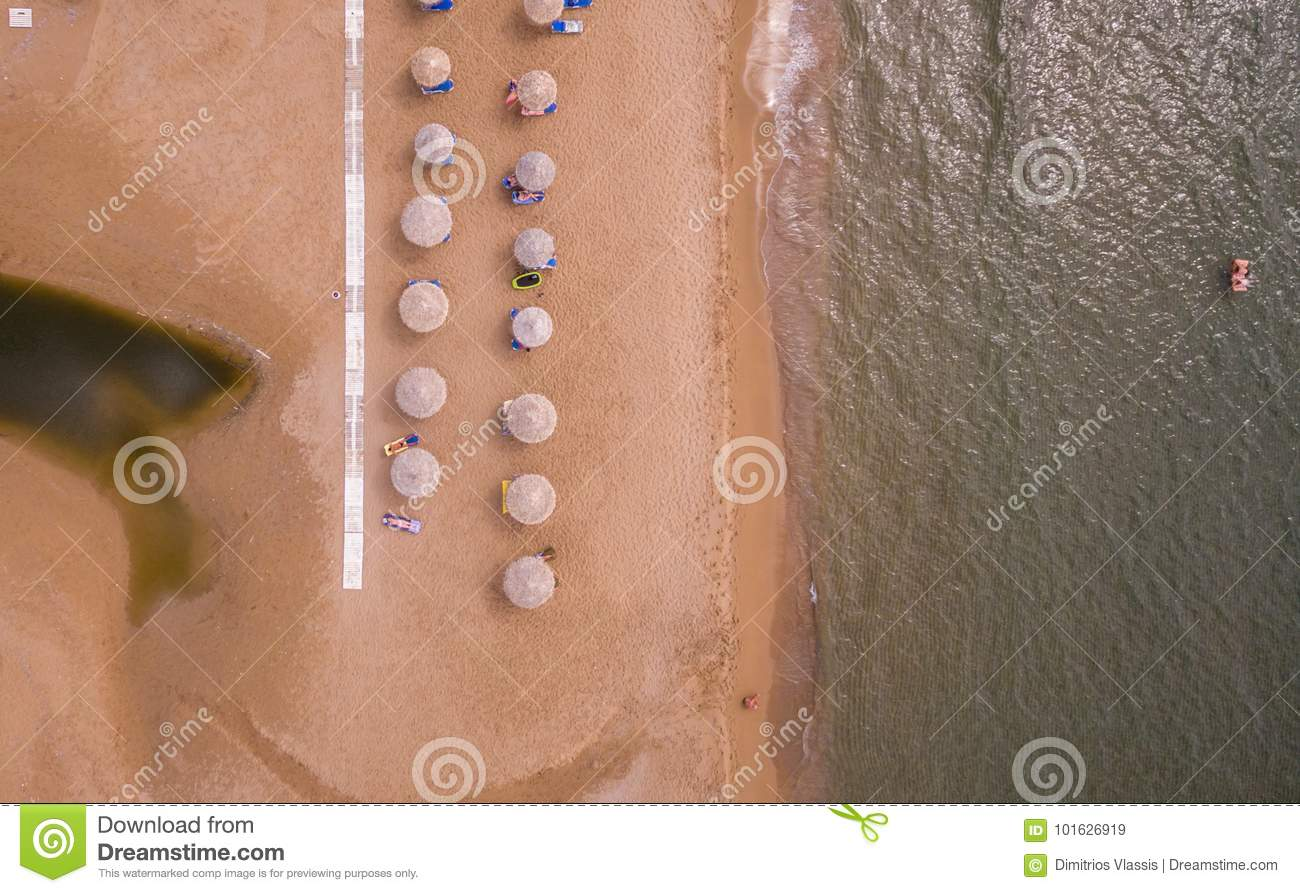 Aerial view of sunbeds on the beach.Corfu Greece Europe