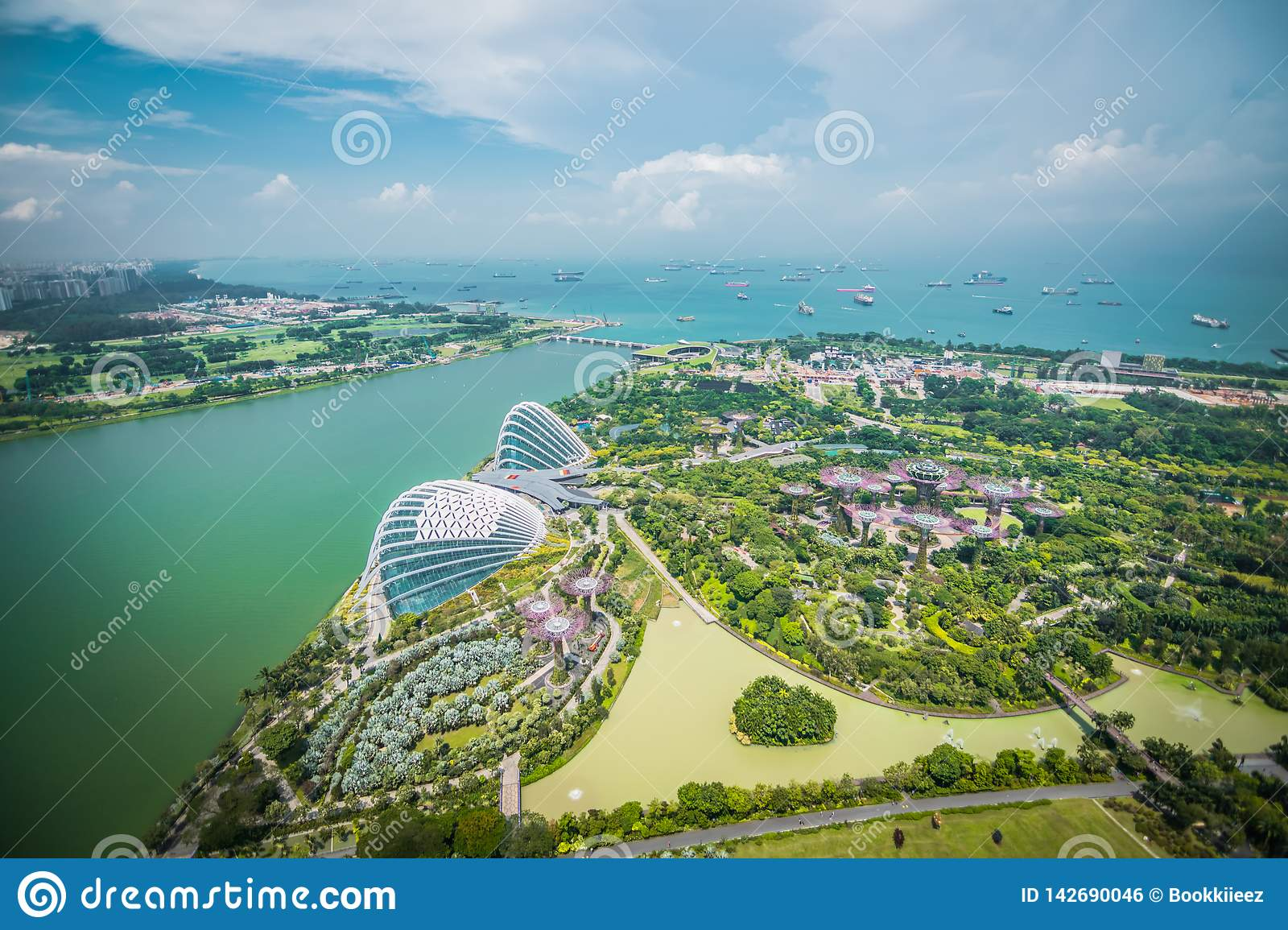 Aerial view of Super trees at Gardens by the Bay, Singapore.