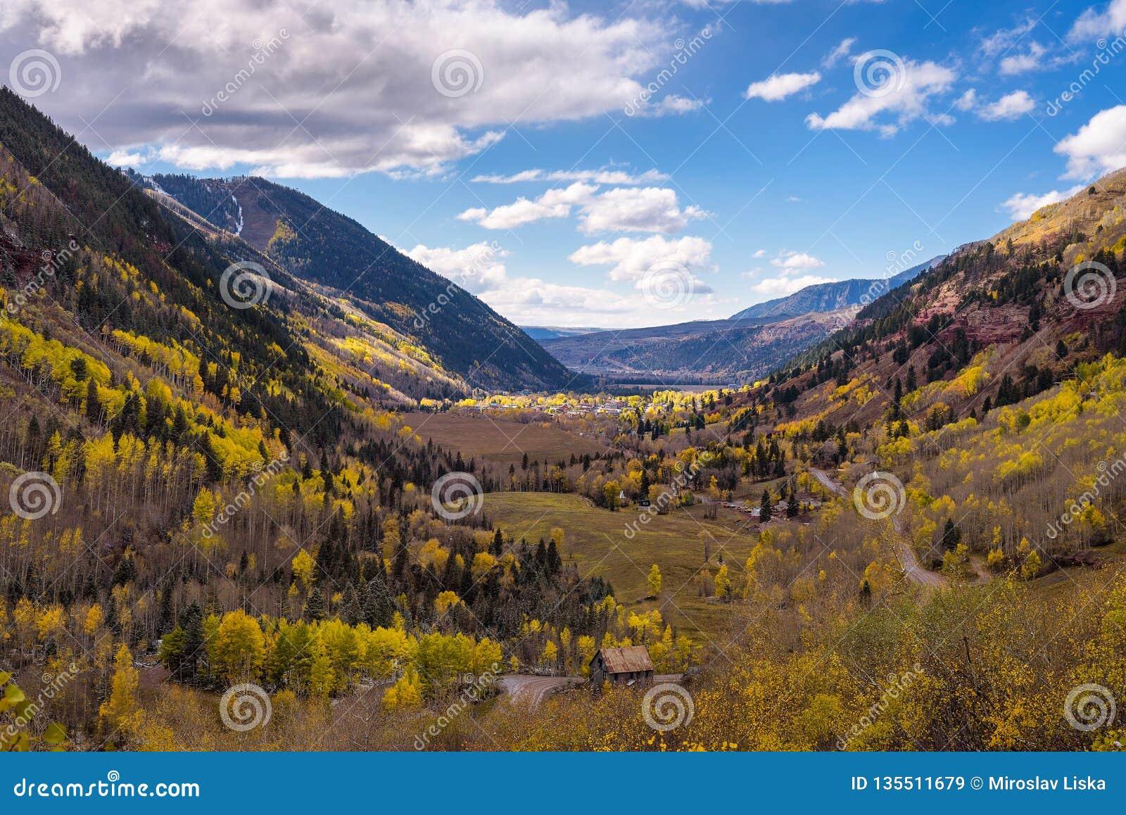 Aerial view of Telluride, Colorado in autumn