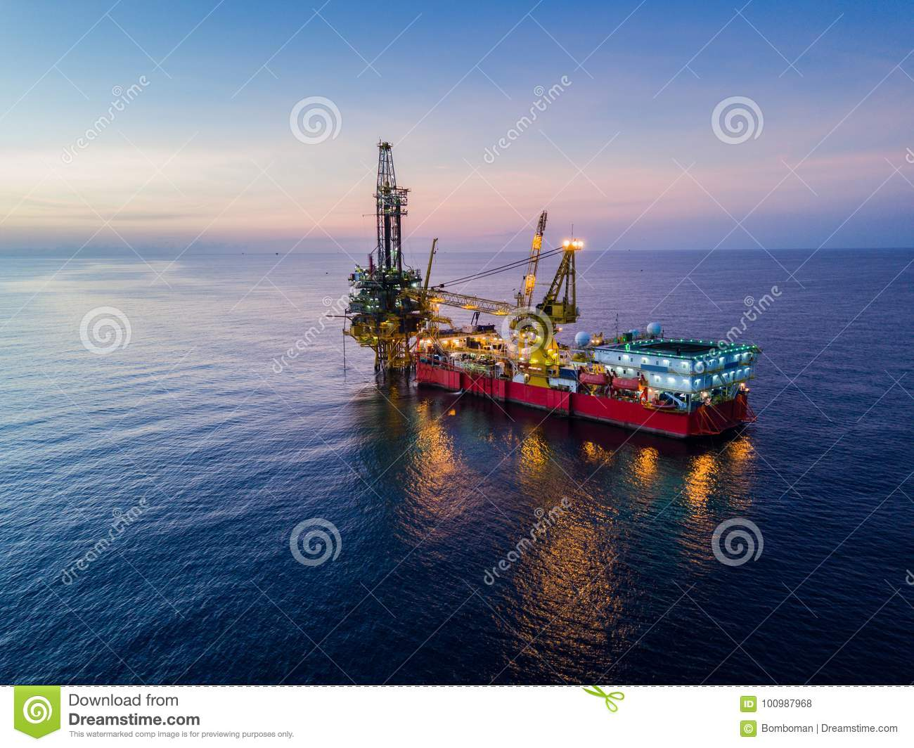 Aerial View Of Tender Drilling Oil Rig Barge Oil Rig Stock Photo