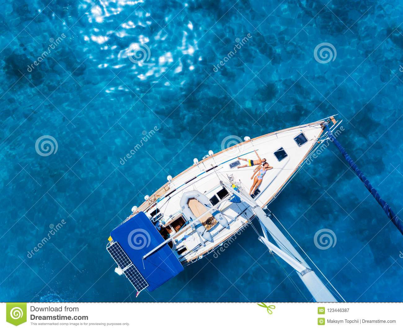 Download Aerial View To Yacht In Deep Blue Sea Drone Photography Stock Image