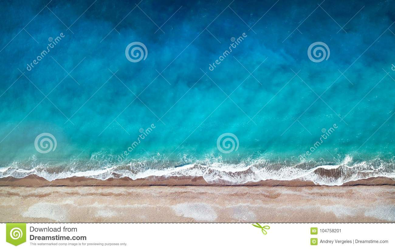 Aerial view. Top view.amazing nature background.The color of the water and beautifully bright.Azure beach with rocky mountains and