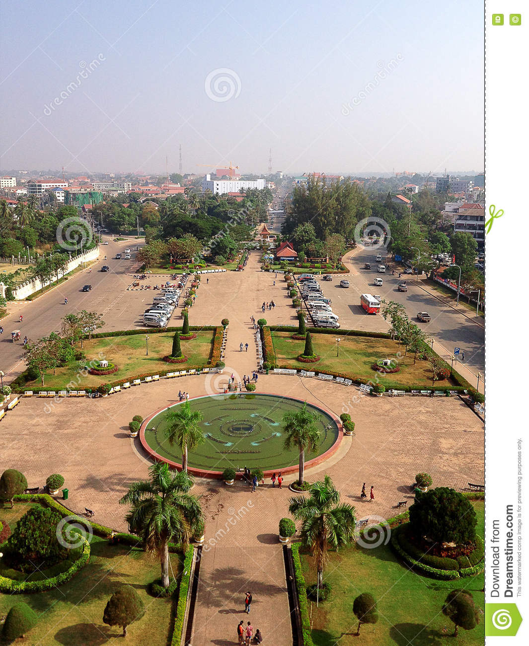Aerial view (Top view) of Vientiane