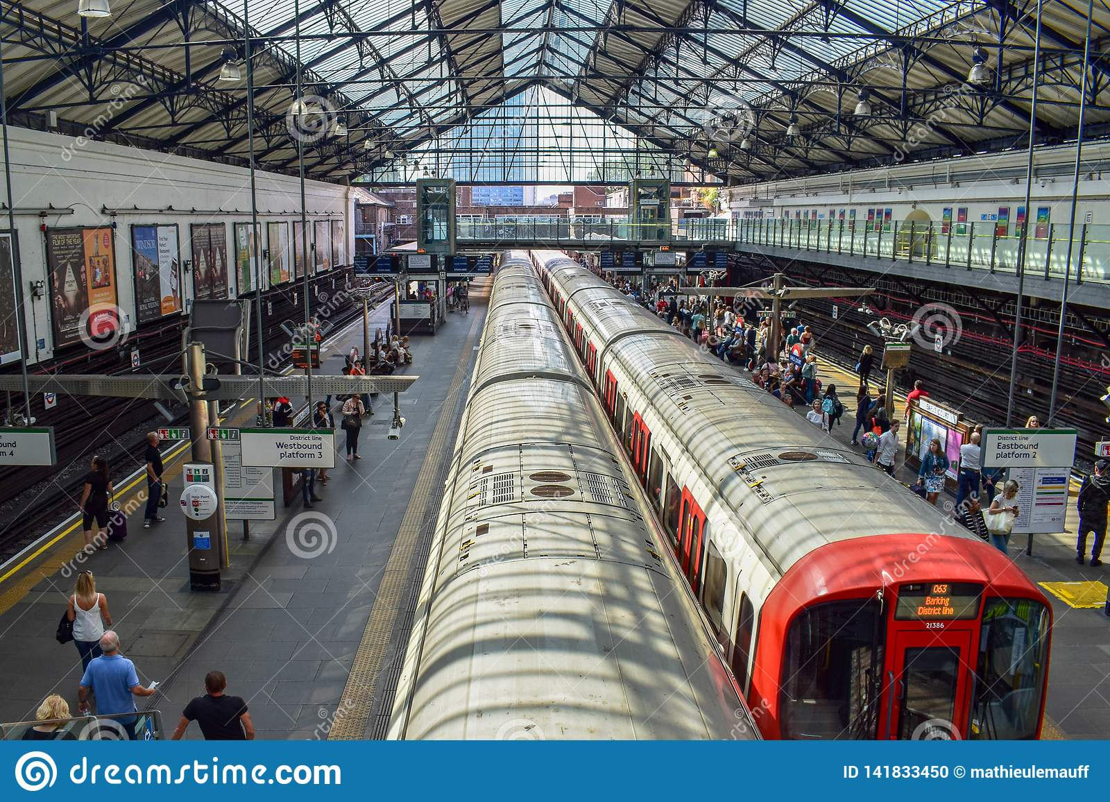 Aerial View of Train Departing from an Underground Tube Station in London