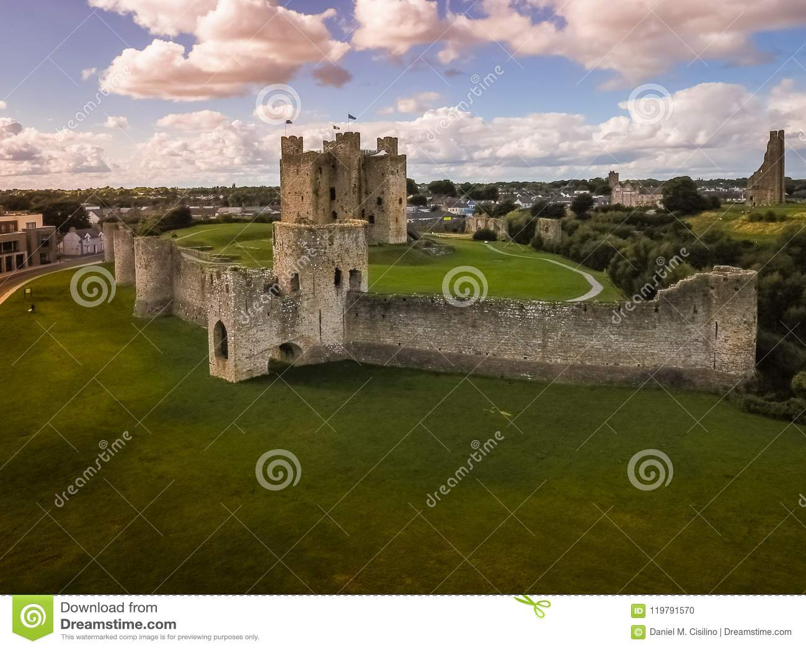 Aerial view. Trim Castle. county Meath. Ireland