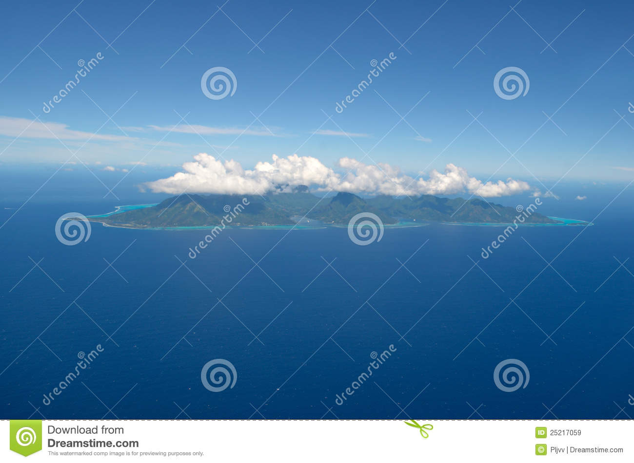 Tropical Island Beach Ambience Sound: Aerial View Of The Tropical Island Of Moorea Royalty Free