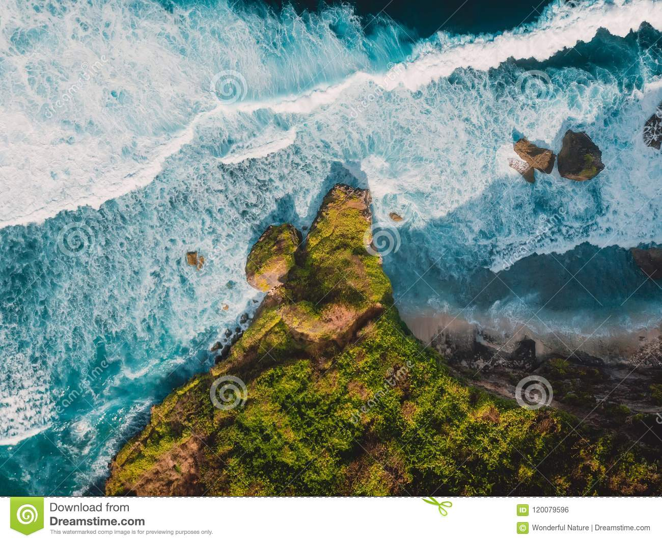 Download Aerial View Of Tropical Island With Rocks And Ocean In Bali Stock Photo - Image of scenery, indonesia: 120079596