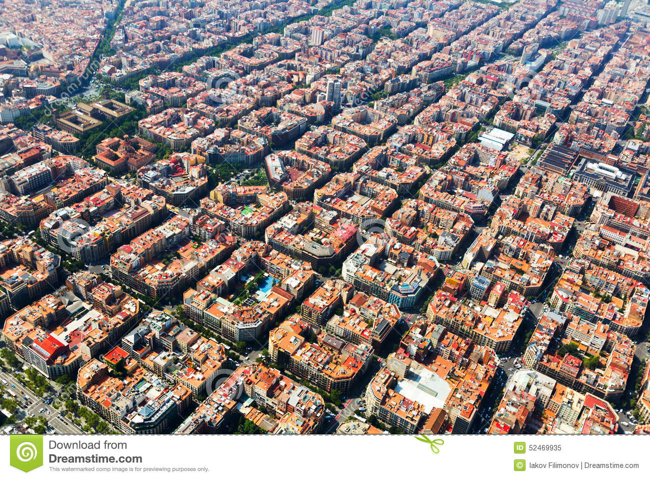 Aerial View Of Typical Buildings At Eixample. Barcelona ...