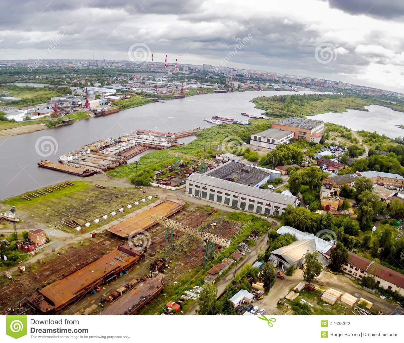 Aerial view on Tyumen Repair Yard. Russia