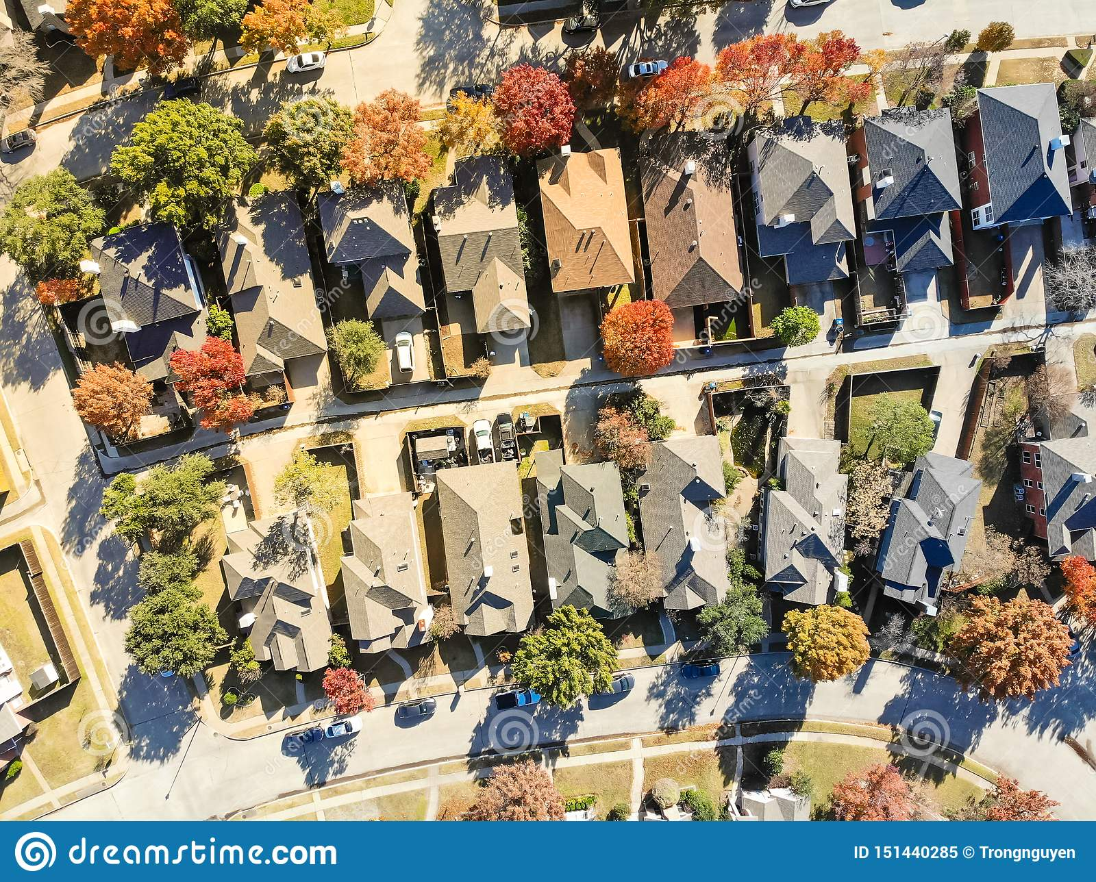 Aerial view of upscale residential area near Dallas in fall season