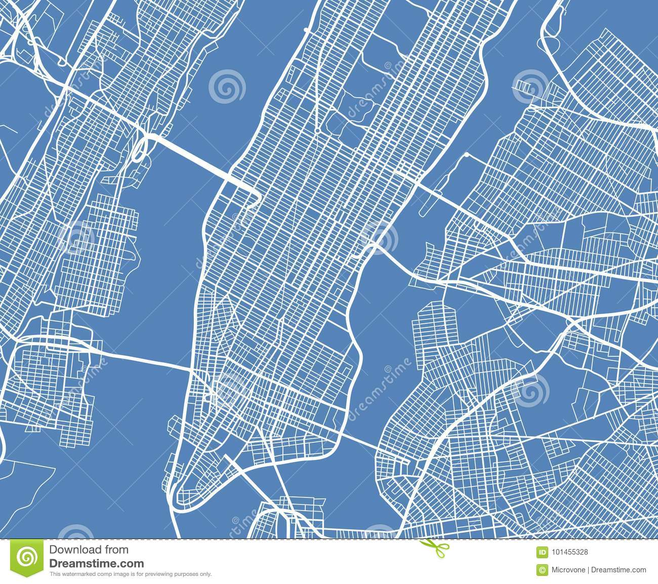 Aerial view USA New York city vector street map