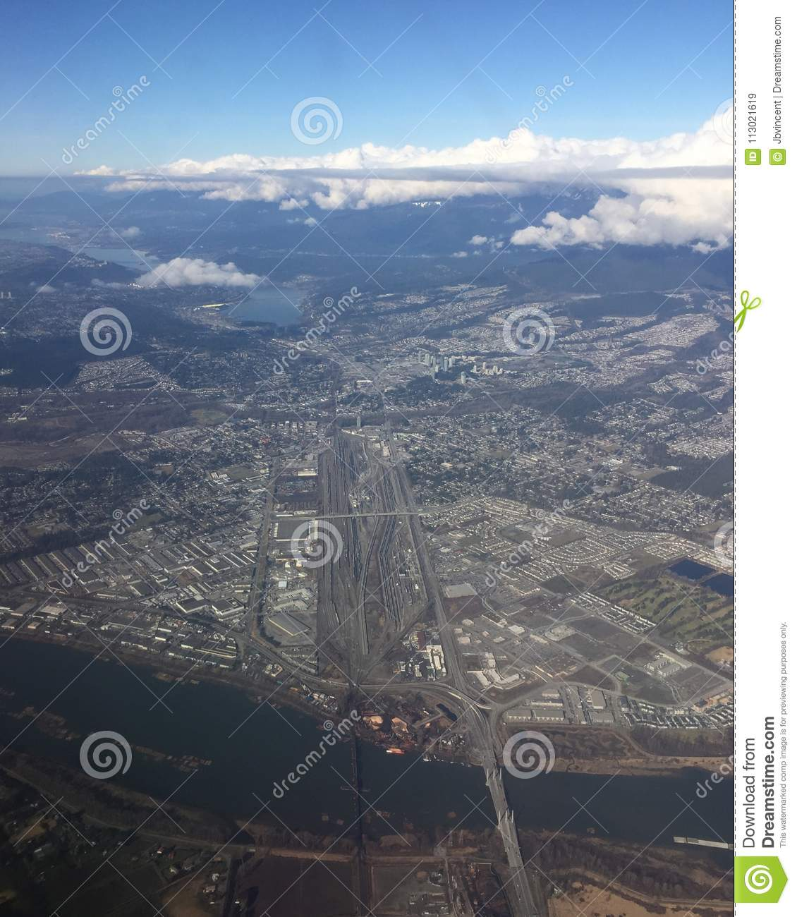 Vancouver BC Aerial View stock image. Image of travel ...