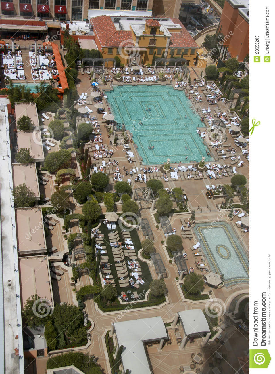Aerial View On Venetian Hotel Roof Placed Swimming Pool Editorial Stock Photo Image 28658283