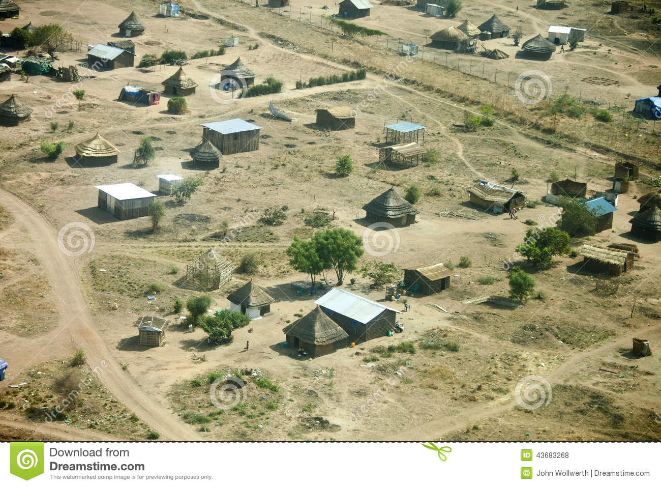 Aerial View Of Village In South Sudan Stock Photo - Image of exotic
