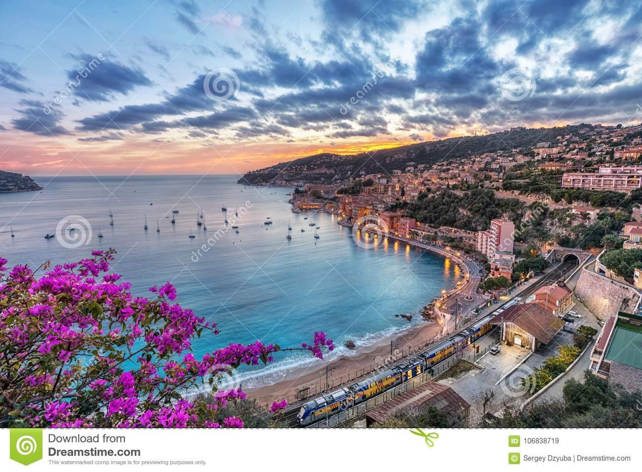 Aerial view of Villefranche-sur-Mer on sunset, France