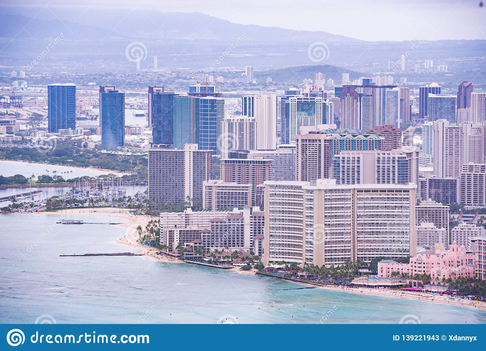 Aerial View Of Waikiki Beach And Buildings Stock Image