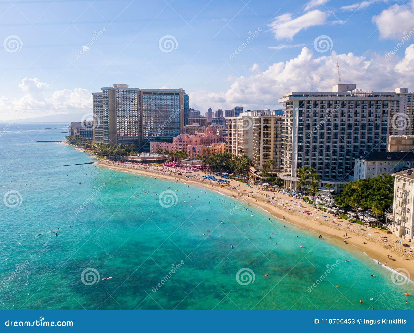Aerial View Of Waikiki Beach And Diamond Head Crater Stock ...