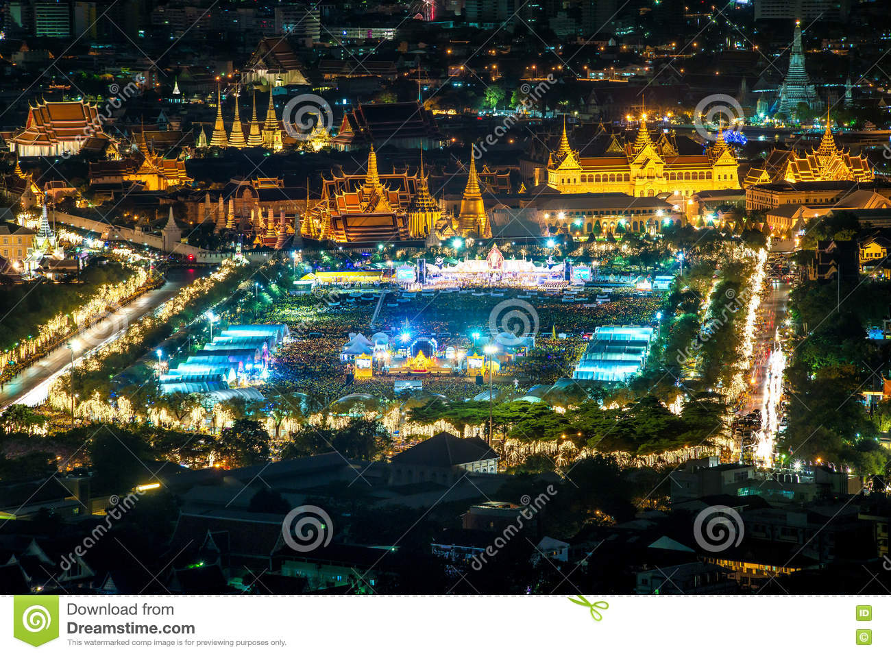 Aerial View Of Wat Phra Kaew In Night, Bangkok, Thailand ...