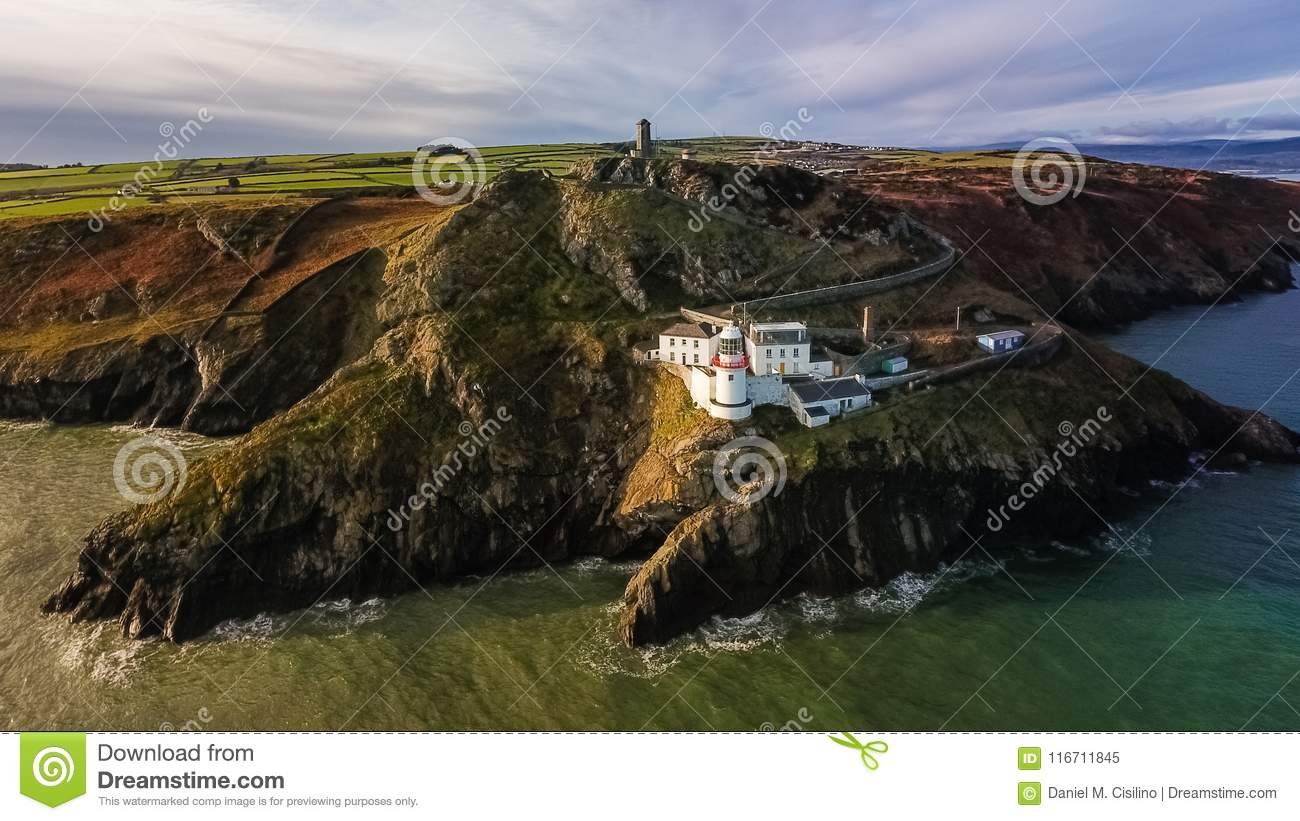 Aerial view. Wicklow Head lighthouse. county Wicklow. Ireland