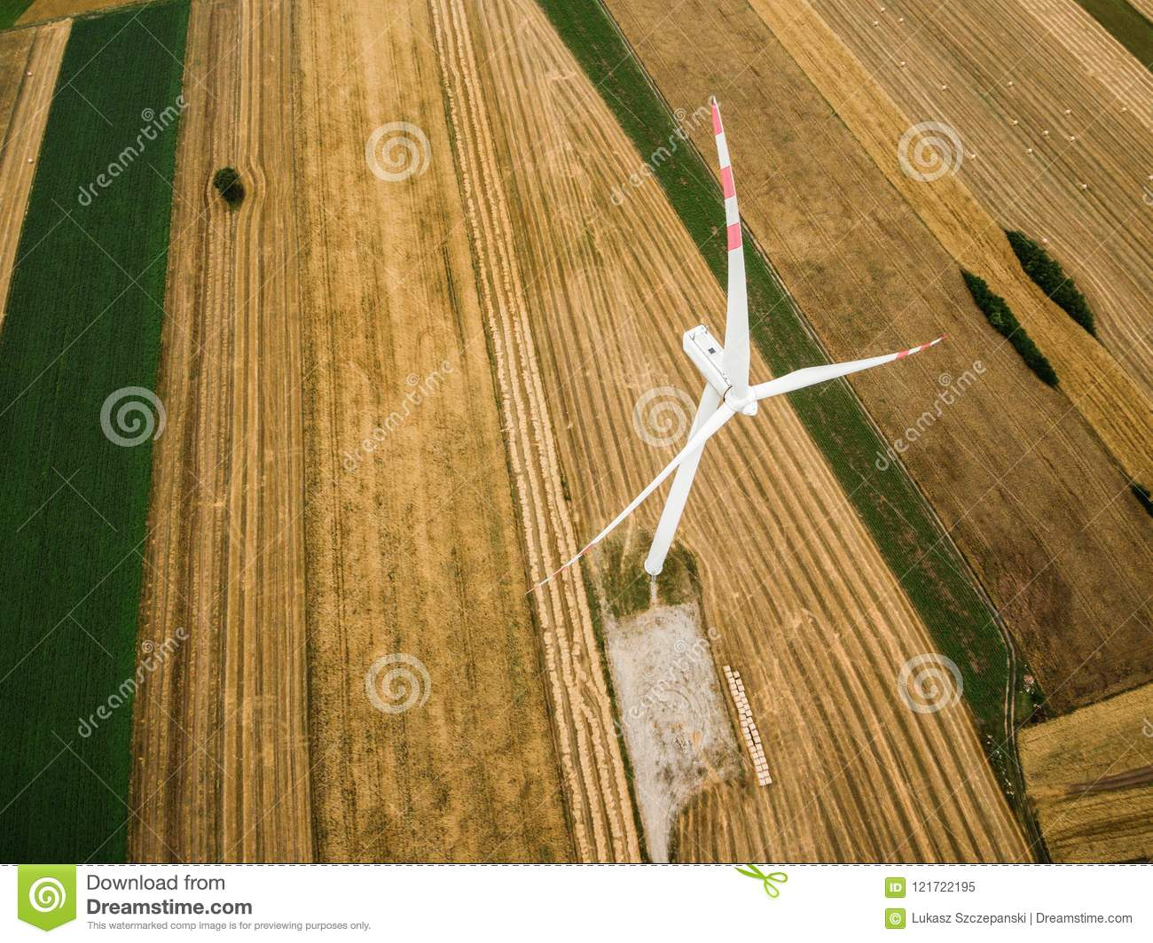 Aerial view of windmill from above
