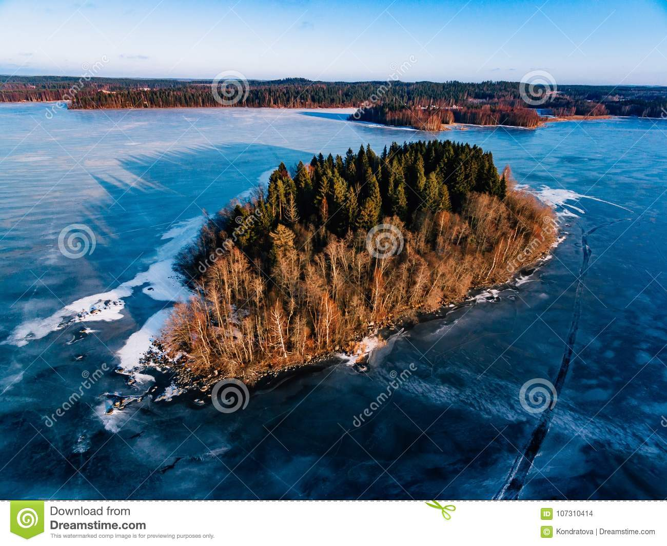 Aerial View Of The Winter Snow Forest And Frozen Lake From