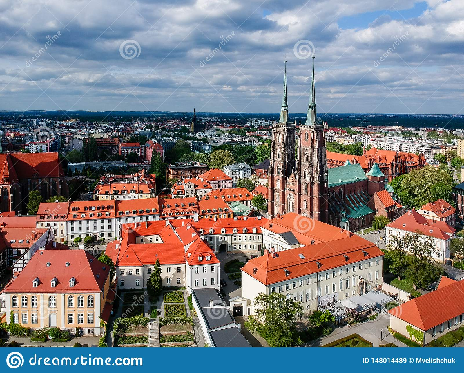 The aerial view of Wroclaw: Ostrow Tumski, Cathedral of St. John the Baptist and Collegiate Church of the Holy Cross and St. Barth