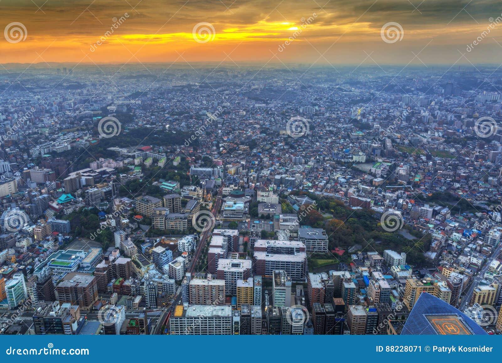 Aerial view of Yokohama at dusk