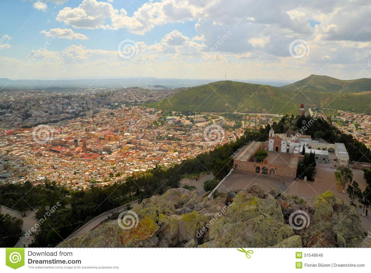 Aerial view of Zacatecas, colorful colonial town