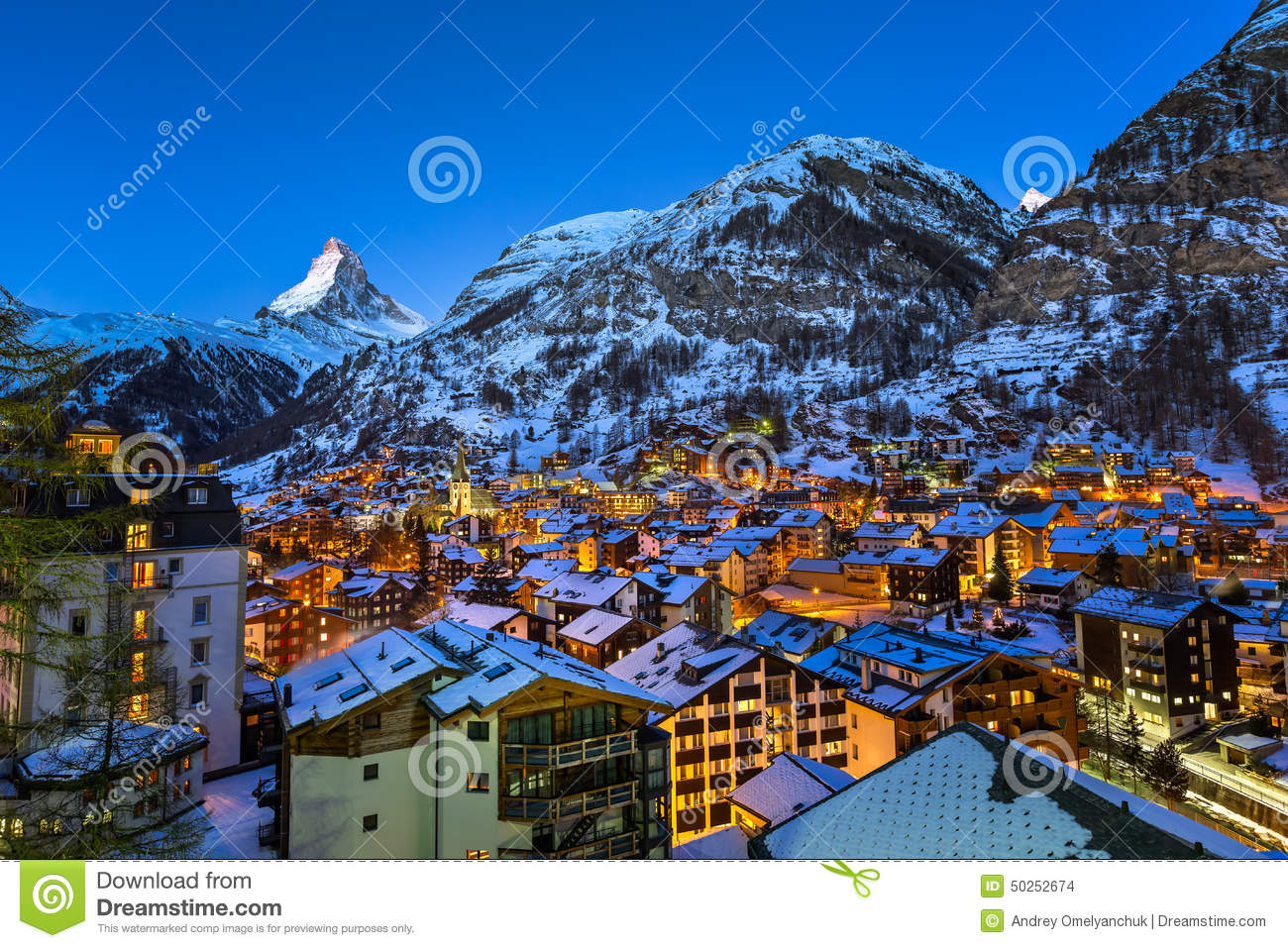 Aerial View on Zermatt Valley and Matterhorn Peak at Dawn