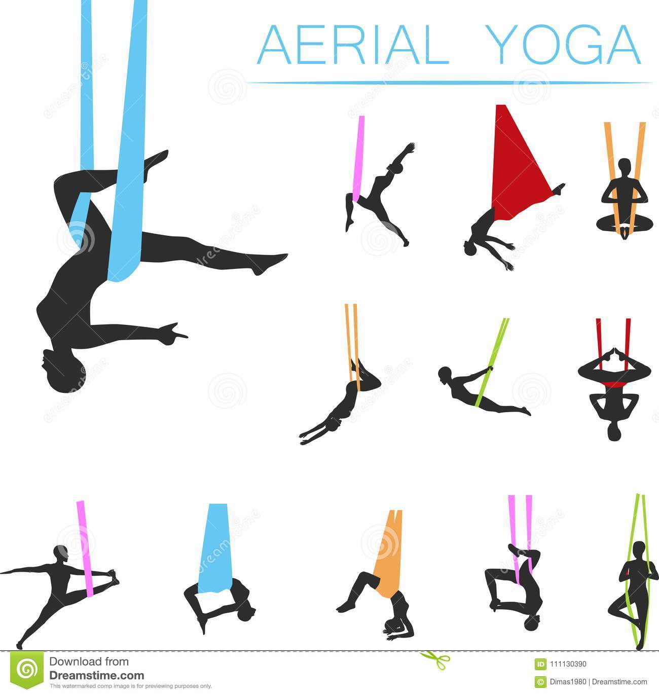 Aerial Yoga Set With Young Woman Silhouettes Stock Vector