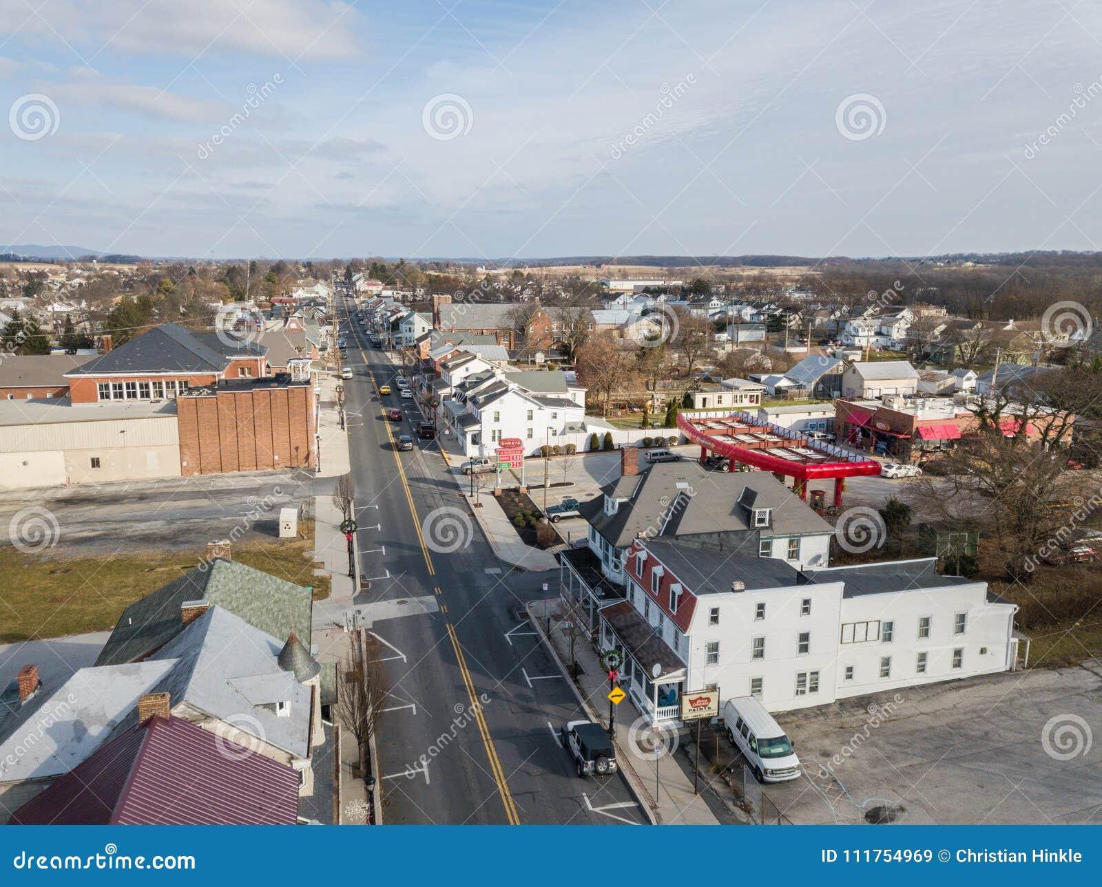 Aerials of Historic Littlestown, Pennsylvania neighboring Gettysburg