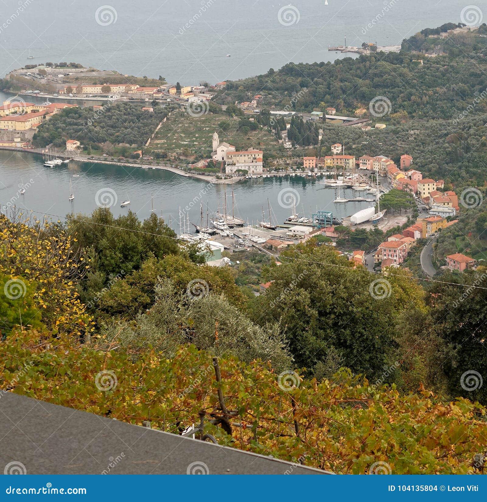 aerialview of le grazie a little village near Portovenere