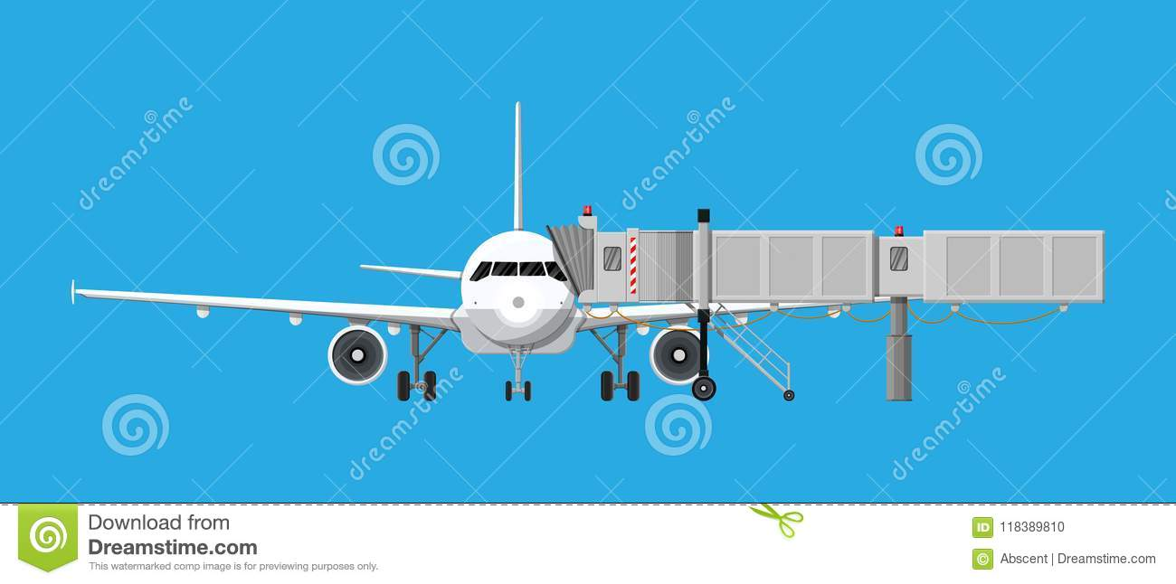 Aero Bridge Or Jetway With Aircraft Stock Vector - Illustration of