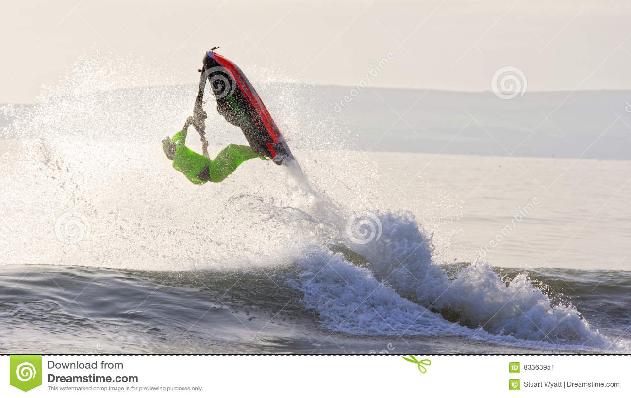 Aerobatic jet ski on water