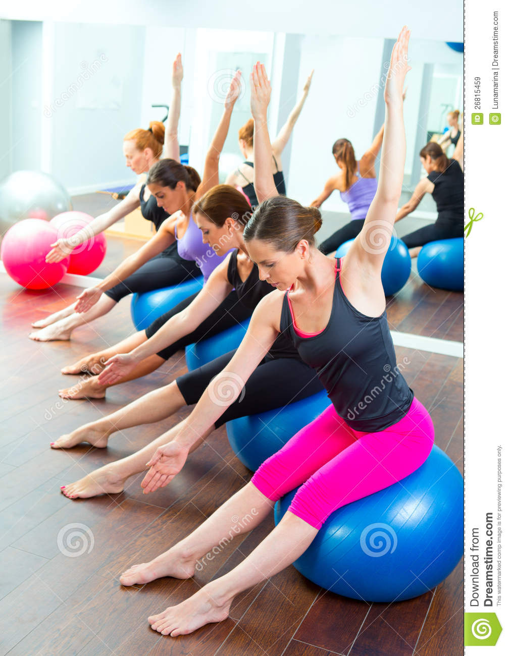 aerobic pilates women group with stability ball stock image image