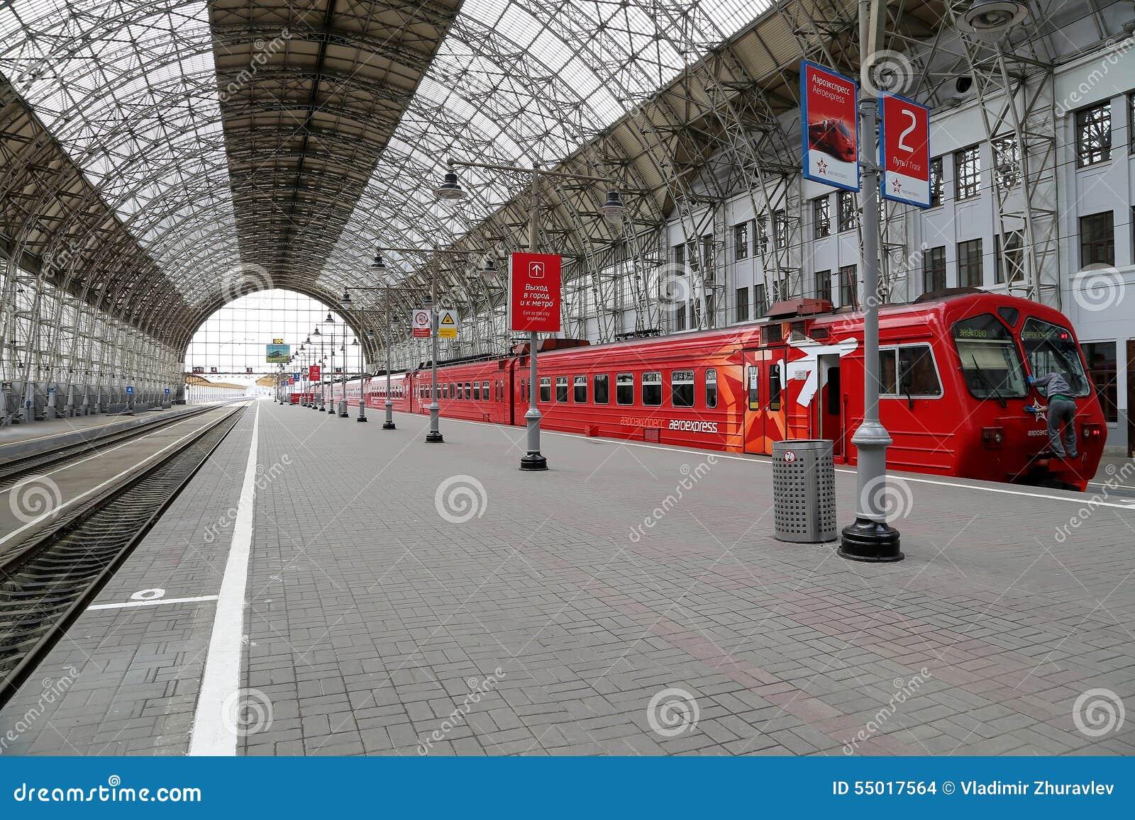 Aeroexpress rode Trein op Kiyevskaya-station (Kiyevsky-spoorwegterminal, vokzal Kievskiy), Moskou, Rusland