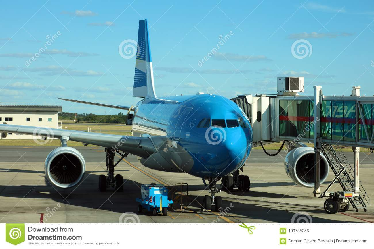 Aerolineas Argentinas Airplane at airport gate ready for boarding and departure