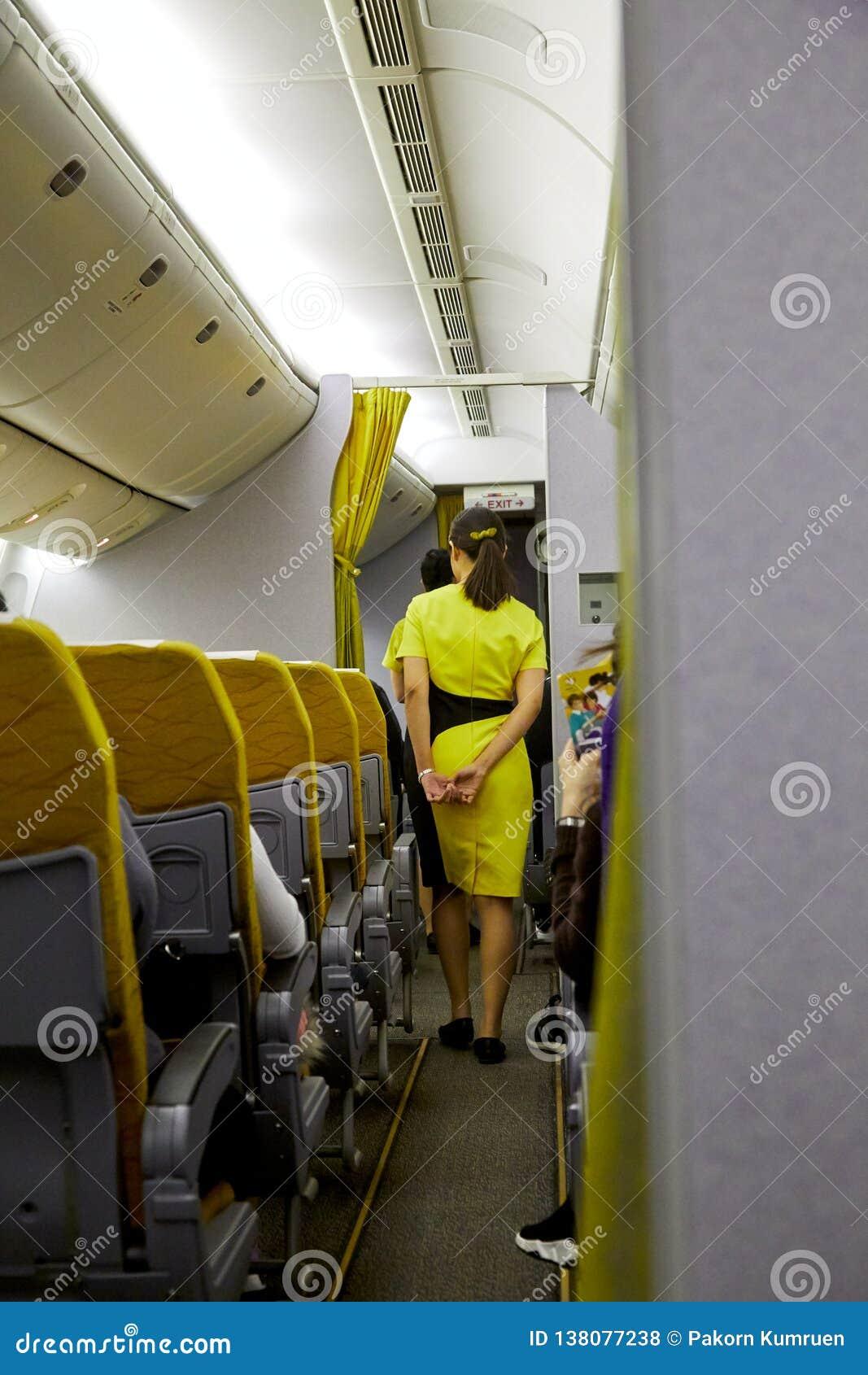 Aeromoço que serve passageiros