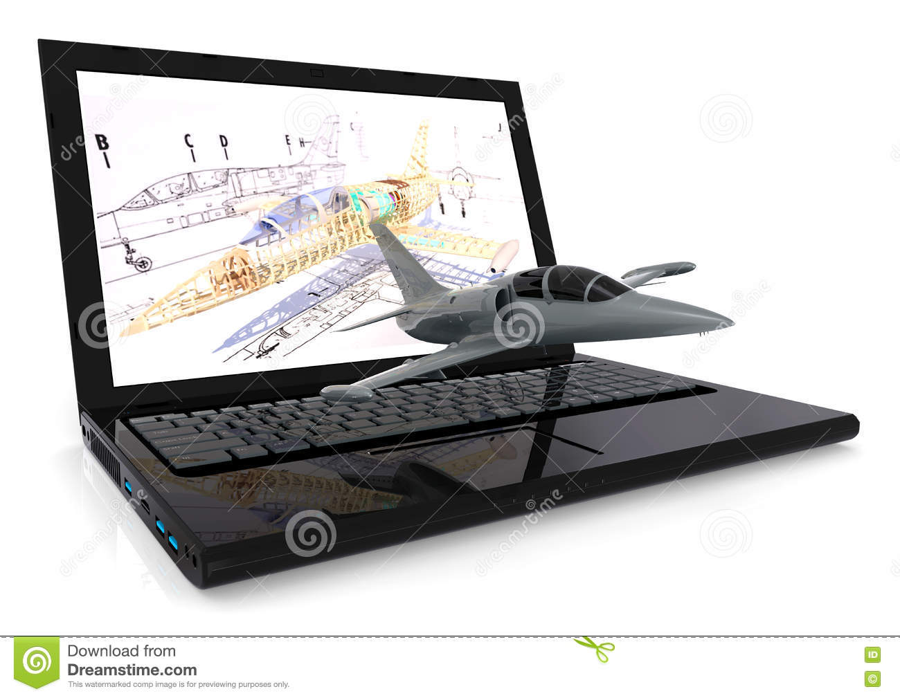 Aeronautical Cad design stock illustration  Illustration of